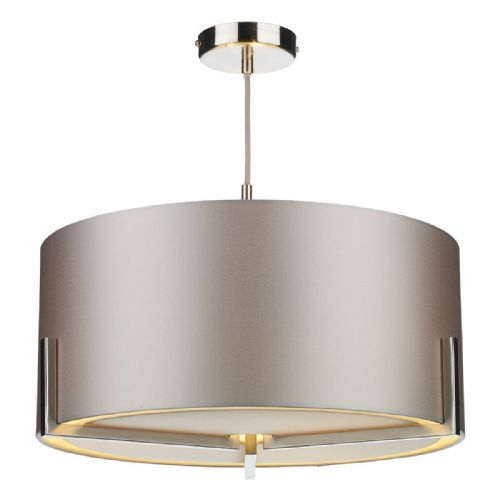Huxley 3Lt Pendant Chrome Complete with Shade (Choose colour) HUX0346 (Hand made, 10-14 day Del)